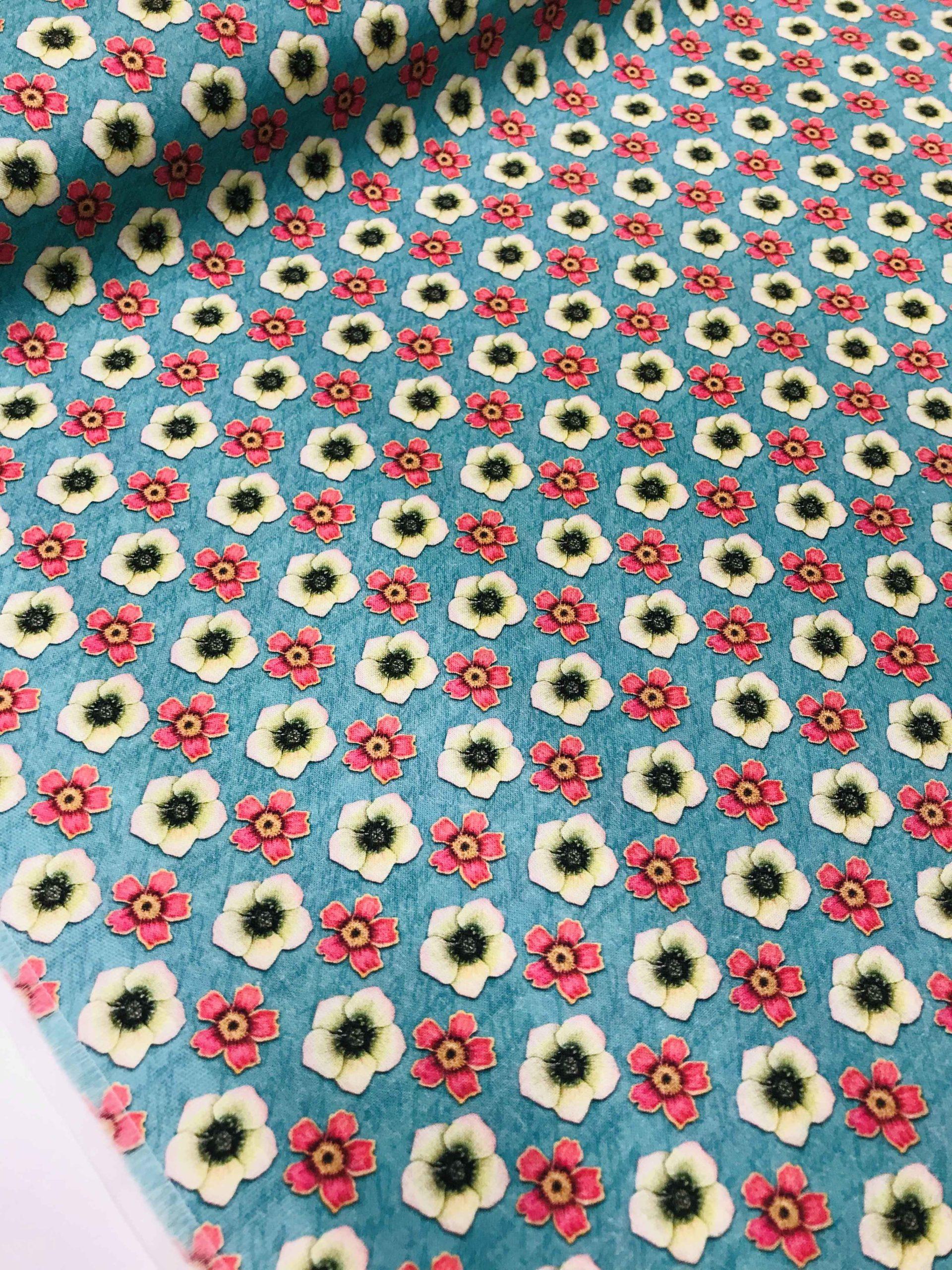 Petit Patchwork-bleu-Tissu coton patchwork floral